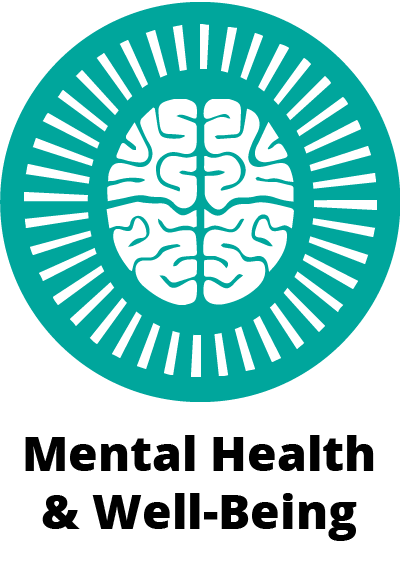 circular green icon symbol showing a brain with a circle of lines around it