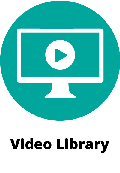 circular green icon symbol showing a computer monitor with the play symbol on it