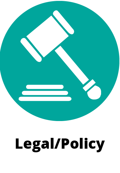 circular green icon symbol showing a gavel and pad