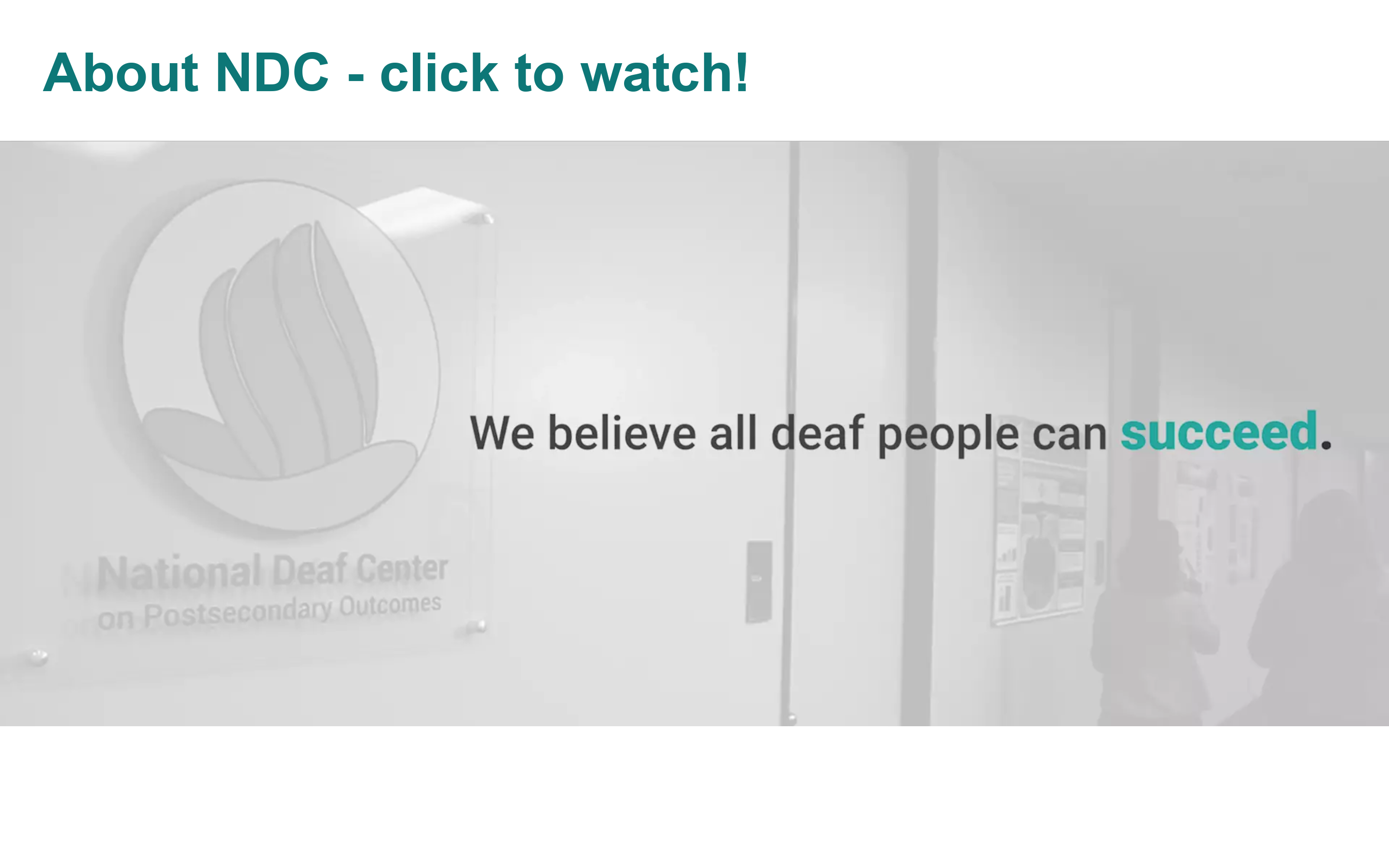 Welcome to the National Deaf Center!