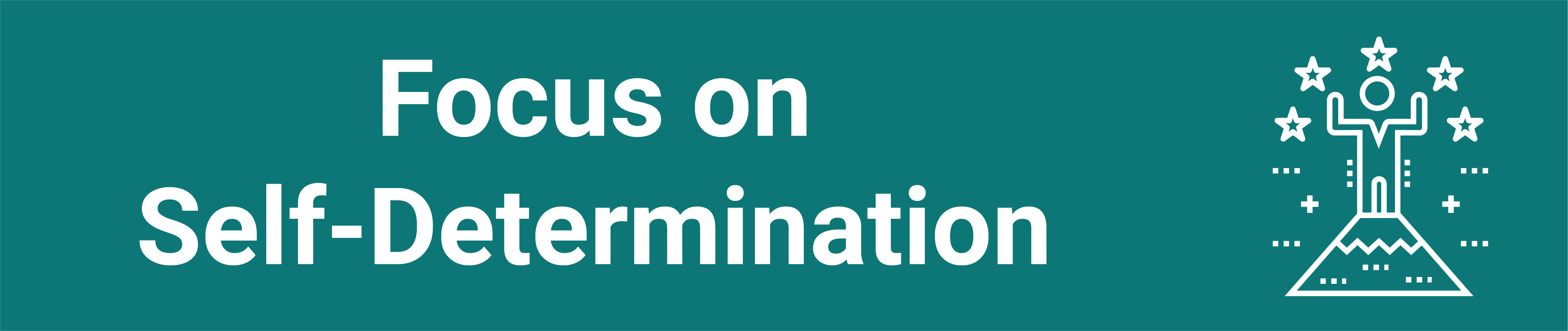 Text: Focus on Self-Determination on a teal background with an icon of a target in square brackets in white