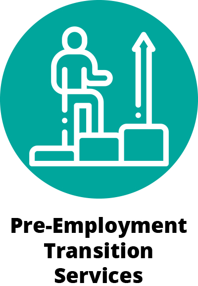 """illustration of a green teal circle. Inside the circle is a person climbing steps with an up arrow on the top step. Below the teal circle are the words """"Pre-Employment Transition Services""""."""