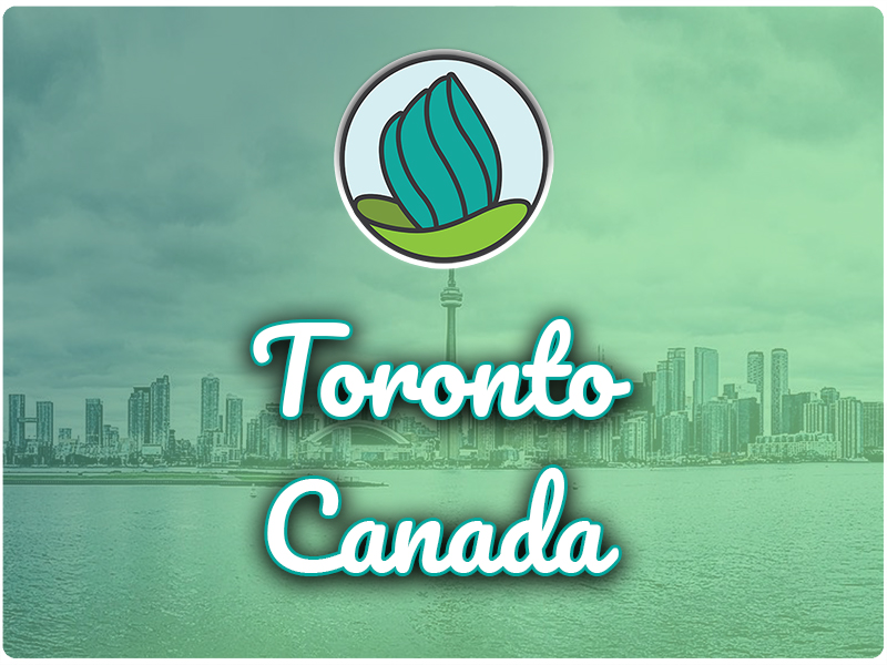 Image of the Toronto skyline and a blue-green gradient overlay, and the words 'Toronto, Canada' in cursive and NDC logo on top