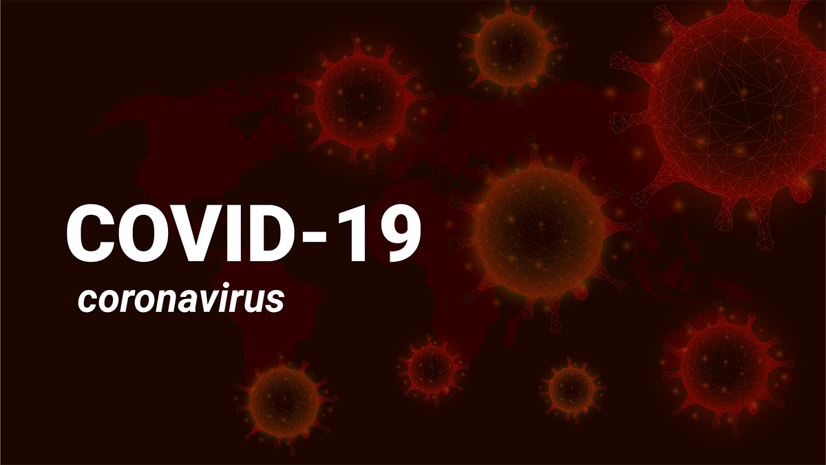 Dark orange background consisting of orange cells with crown-like spikes with text reading COVID-19 coronavirus