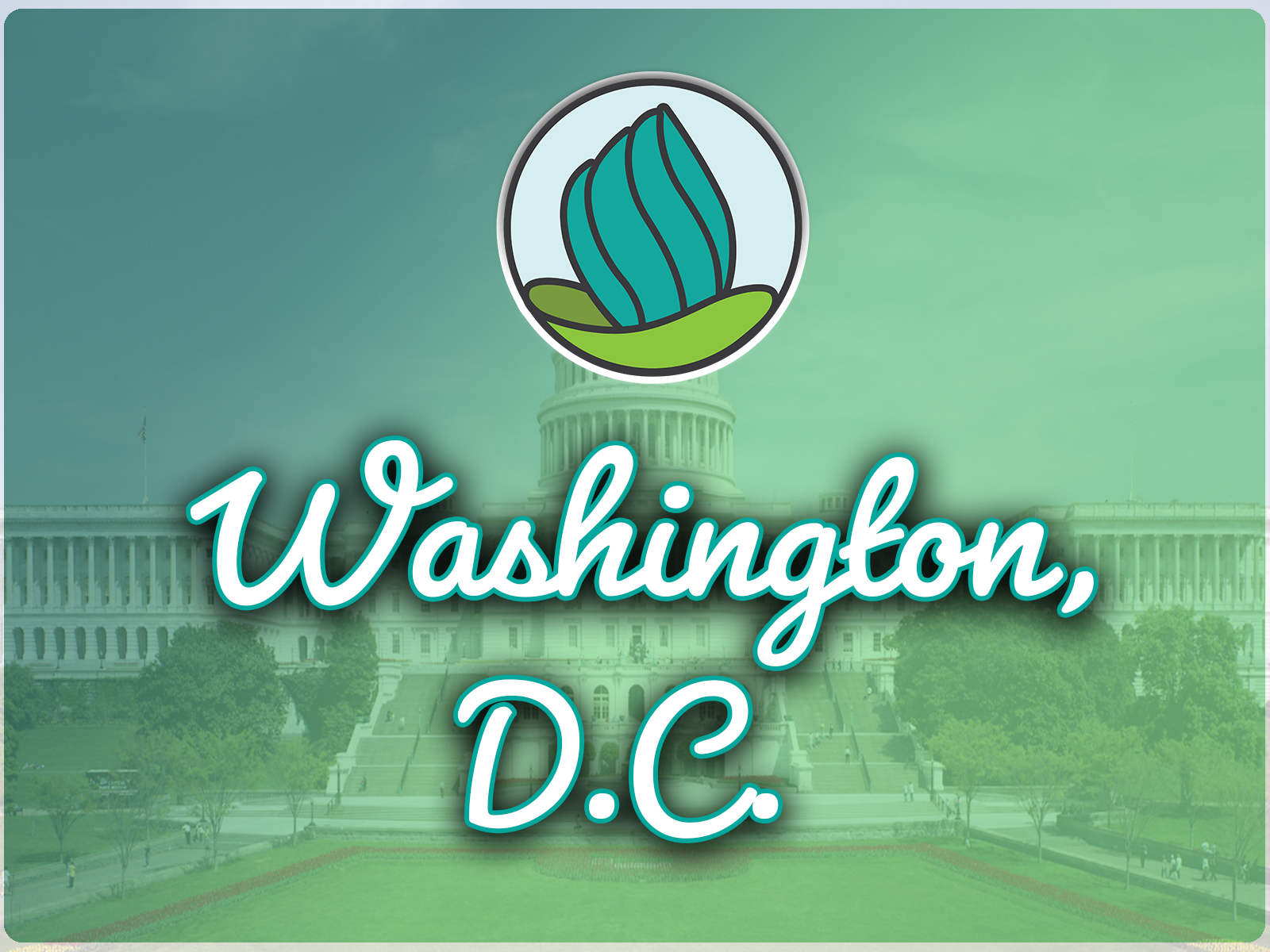 """The words """"AtlThe words """"Washington, D.C."""" underneath the NDC logo, a teal torch coming out of a green vase, with a faded image of DC in the background under a teal wash."""