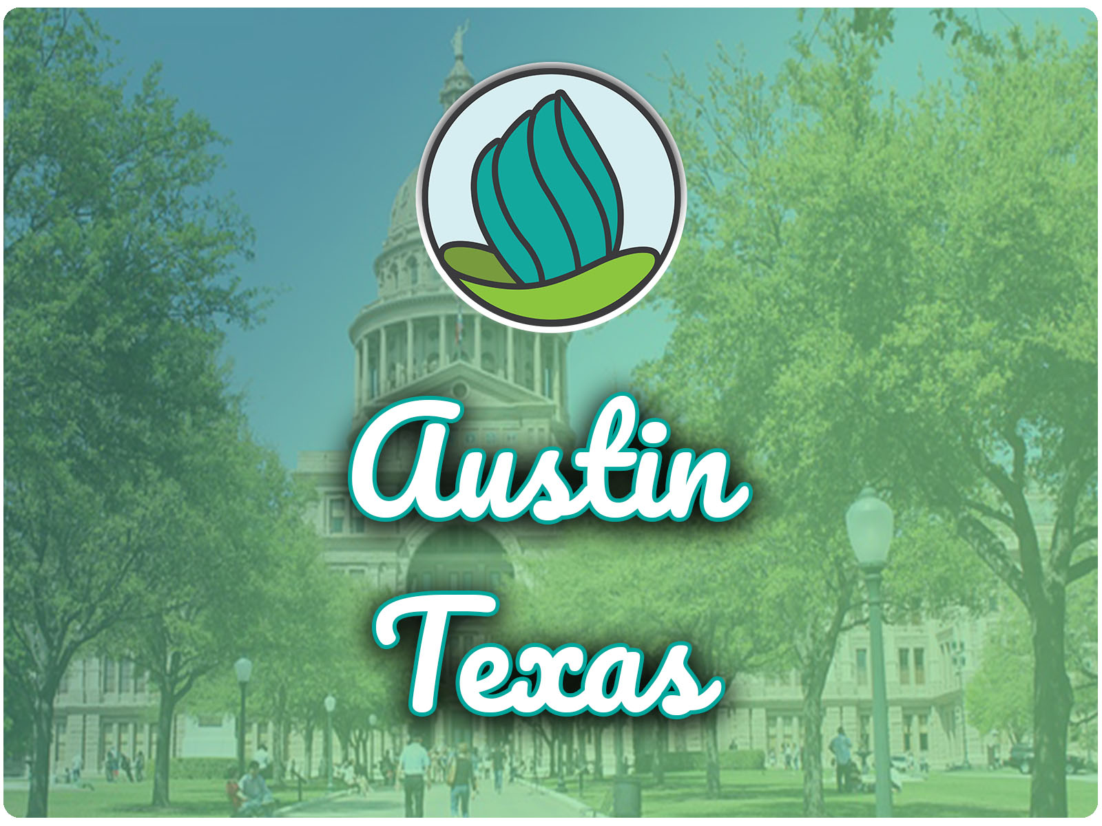 Image of the Texas Capitol builoding and a blue-green gradient overlay, and the words 'Austin, Texas' in cursive and NDC logo on top