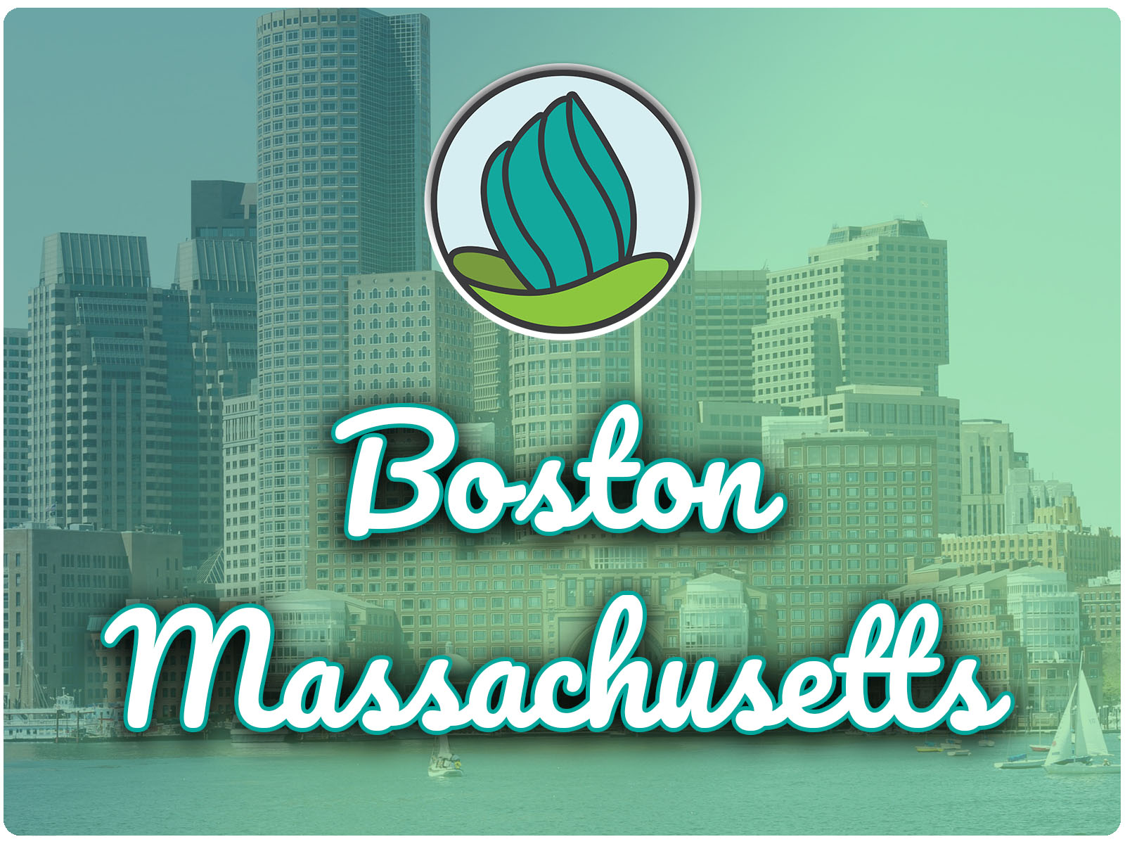 Image of the Boston skyline and a blue-green gradient overlay, and the words 'Boston, Massachusetts' in cursive and NDC logo on top