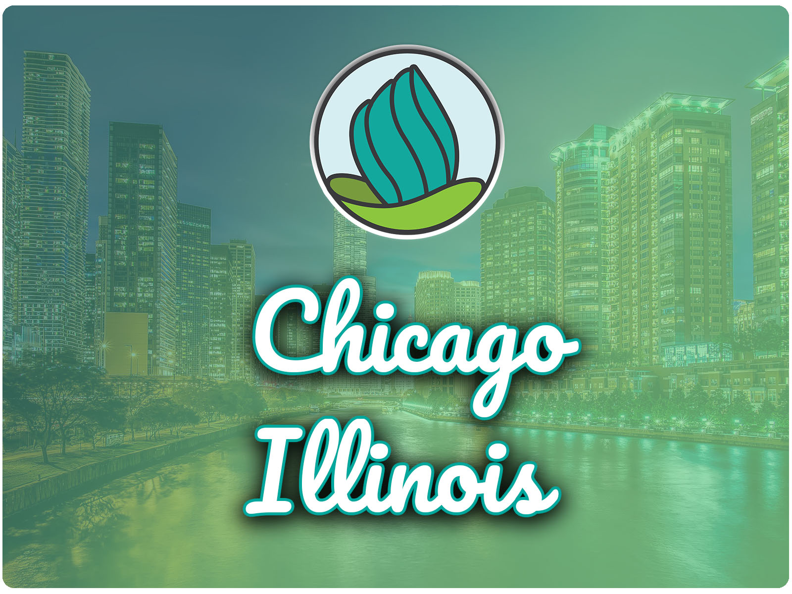 Image of tall buildings and a blue-green gradient overlay, and the words 'Chicago, Illinois' in cursive and NDC logo on top
