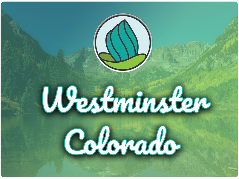 Photo of lake and mountains in Colorado, blue-green gradient overlay, and the words 'Westminster, Colorado' in cursive and NDC logo on top