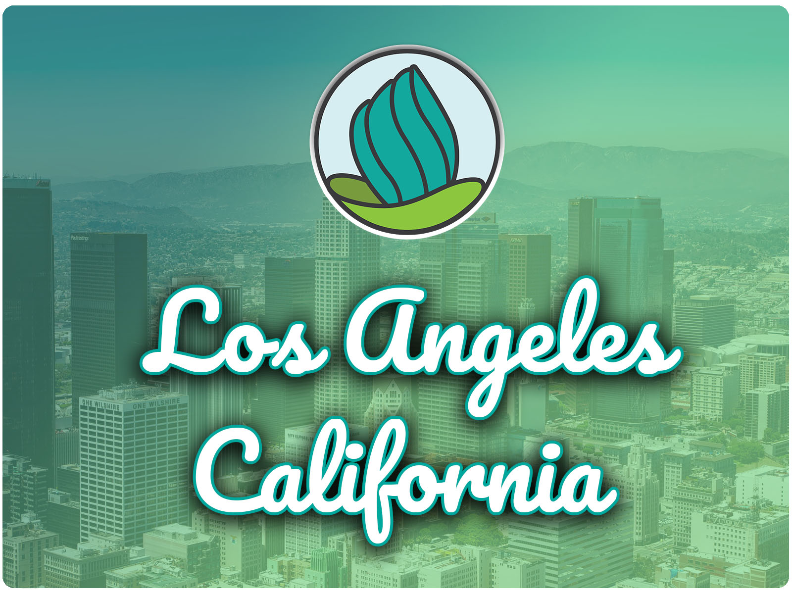 photo of city buildings with green gradient overlay, NDC logo, and the letters 'Los Angeles, California' in cursive