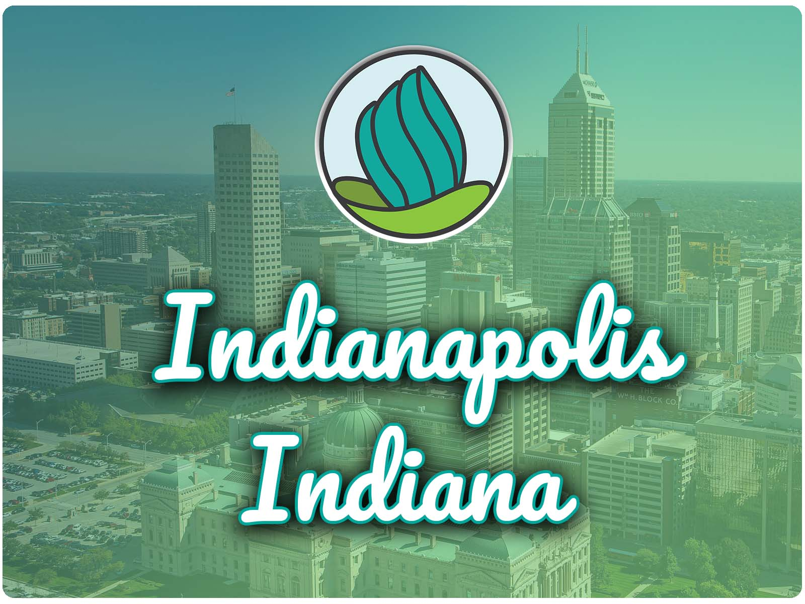 Image of tall buildings and a blue-green gradient overlay, and the words 'Indianapolis, Indiana' in cursive and NDC logo on top