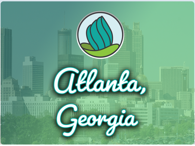 "The words ""Atlanta, Georgia"" underneath the NDC logo, a teal torch coming out of a green vase, with a faded image of Atlanta in the background under a teal wash."