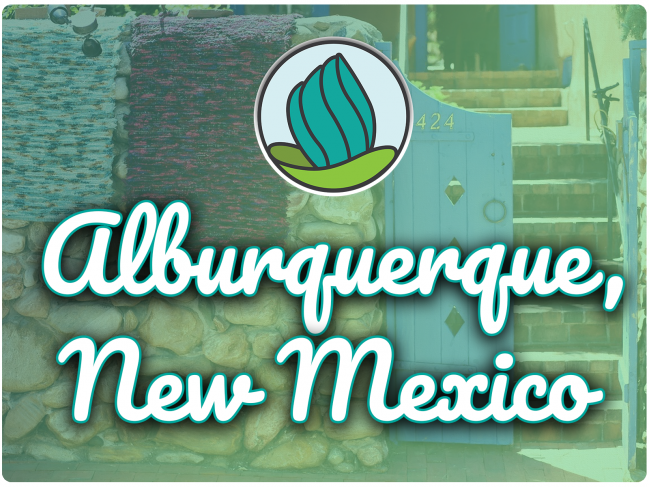 image of blue door and textiles, and the words 'Albuquerque , New Mexico' in cursive and NDC logo on top
