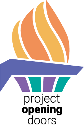 A stylized orange and purple torch with the words Project Opening Doors written underneath