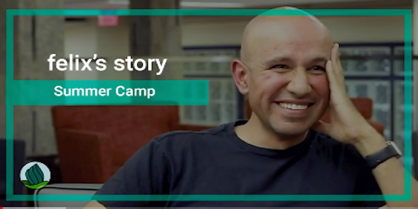 a screen capture of a bald, smiling deafblind Latino man wearing a navy blue shirt. Across the screen is a screen overlay that reads 'felix's story' and 'Summer Camp'. On the lower left corner is NDC's logo.