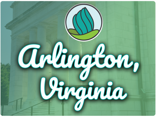 image of marble building with columns and a blue-green gradient overlay, and the words 'Arlington, Virginia' in cursive and NDC logo on top