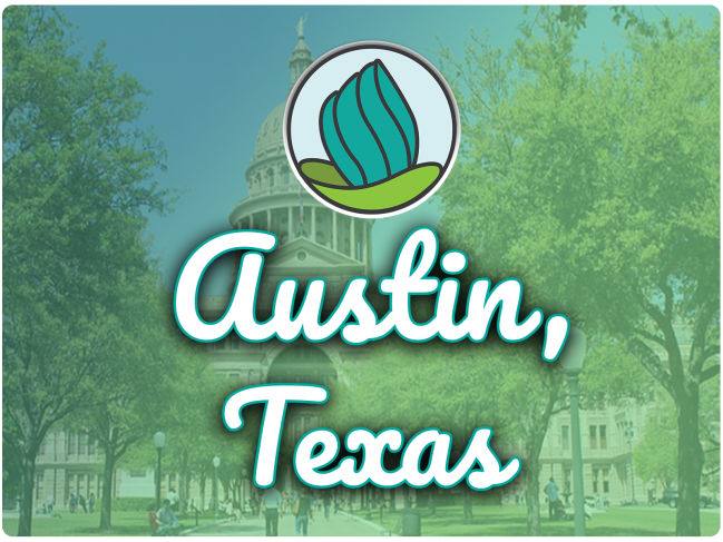 photo of Austin capitol building with trees and people walking towards, green gradient overlay, NDC logo, and the letters 'Austin TX' in cursive