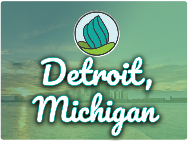 photo of detroit downtown with a green gradient overlay, NDC logo, and the letters 'Detroit MI' in cursive