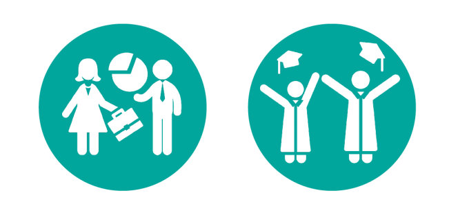 two teal illustrations, both circles, are arranged side-by-side. In the first, two human figures stand with a pie chart between them. In the second, two human figures stand with their arms stretched up, as if celebrating. They are wearing graduation gowns and their caps are floating in the air above their heads.