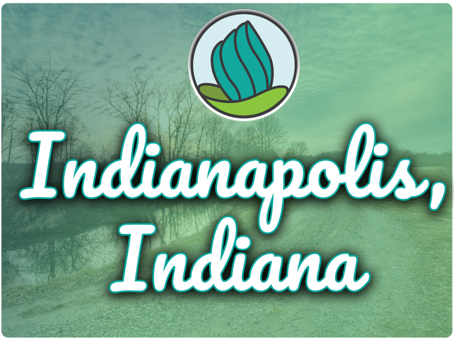 photo of river in Indiana with sky and dirt road next to it, green gradient overlay, NDC logo, and the letters 'Indianapolis, Indiana' in cursive