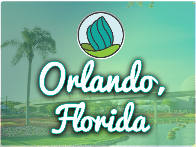 Image of a palm tree and Epcot white globe and train with a blue-green gradient overlay, and the words 'Providence, Rhode Island' in cursive and NDC logo on top
