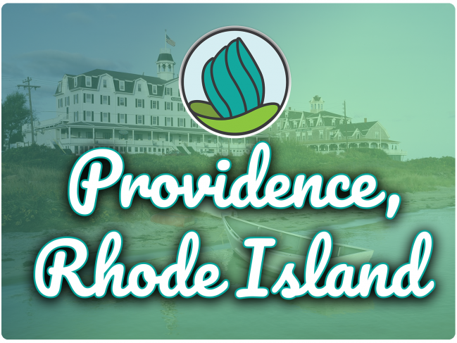 photo of a boat and large hotel with , green gradient overlay, NDC logo, and the letters 'Providence, RI' in cursive