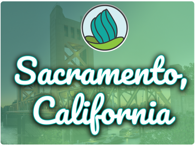photo of bridge in Sacramento with river and boats under it, green gradient overlay, NDC logo, and the letters 'Sacramento, CA' in cursive