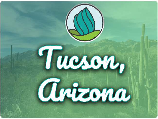 image of cactuses with green overlay and letters 'Tucson, AZ' in cursive with NDC logo below