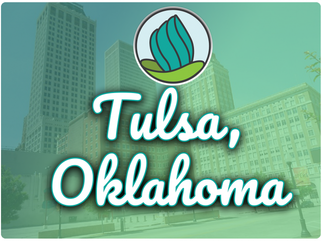 image of downtown Tulsa buildings with green gradient overlay, NDC logo, and the letters 'Tulsa, Oklahoma' in cursive