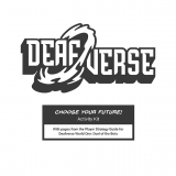 Deafverse logo in black and white. Text underneath: Choose Your Future Activity Kit with pages from the Player Strategy Guide for Deafverse World One: Duel of the Bots