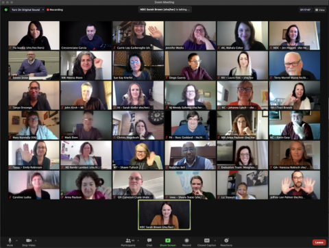A screenshot of the January 12 EFC state Zoom meeting. Several participants are featured in individual boxes.