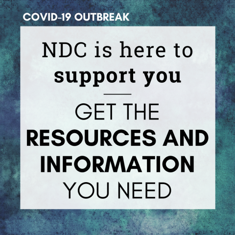 "Blue marbled background with the words ""Covid-19 outbreak. NDC is here to support you. Get the resources and information you need."