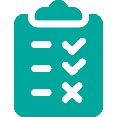 a teal clipboard with three lines on the left and two checkmarks and an x on the right; symbolizing a checklist