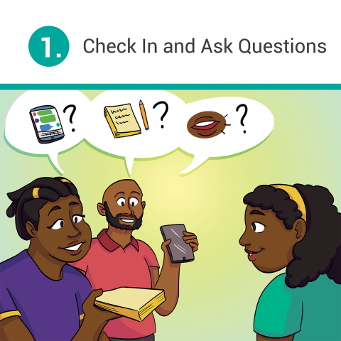 A young girl is smiling and looking at her parents. The mother is holding out a paper pad, while the father is holding up a phone. There's three speech bubbles above them, representing three questions focusing on communication.