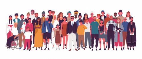 An abstract illustration of a group of people on a white background. People are diverse in terms of gender, age, race, culture and clothing. One person is in a wheelchair.