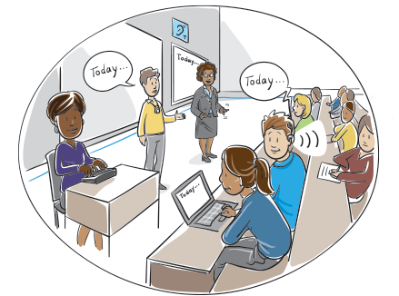 An illustrated classroom with diverse students using a variety of accommodations.