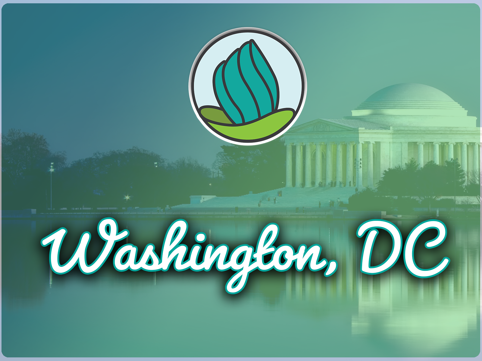 Image of Washington DC and a blue-green gradient overlay, and the words 'Washington DC' in cursive and NDC logo on top
